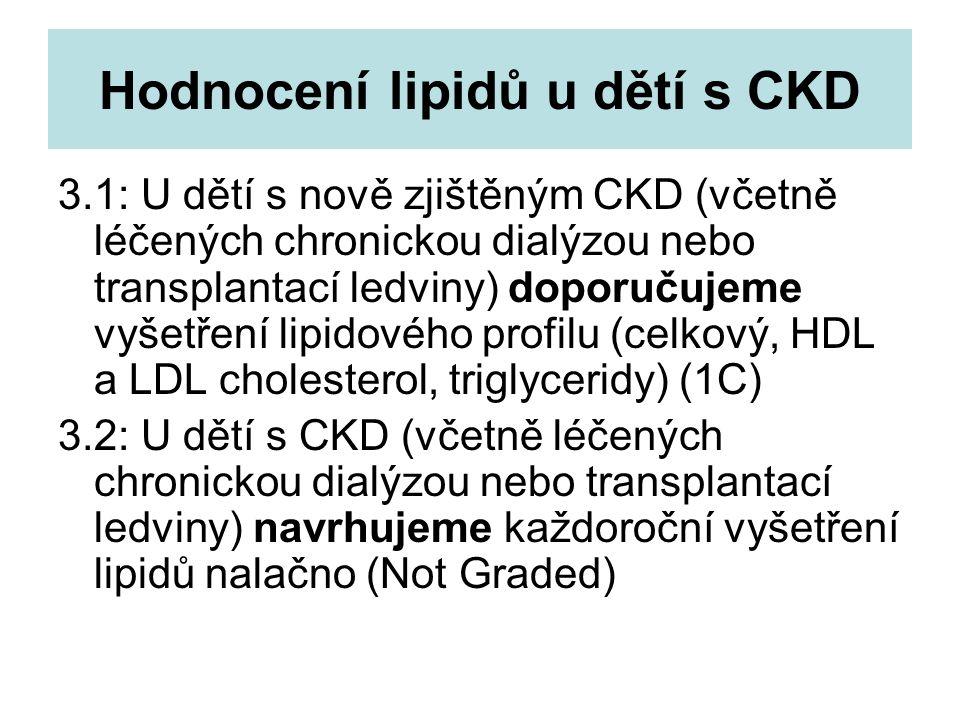 Hodnocení lipidů u dětí s CKD 3.1: U dětí s nově zjištěným CKD (včetně léčených chronickou dialýzou nebo transplantací ledviny) doporučujeme vyšetření