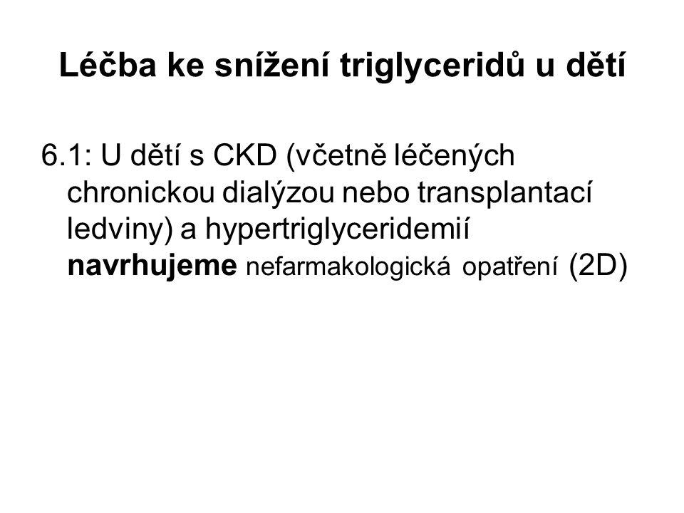 Léčba ke snížení triglyceridů u dětí 6.1: U dětí s CKD (včetně léčených chronickou dialýzou nebo transplantací ledviny) a hypertriglyceridemií navrhuj