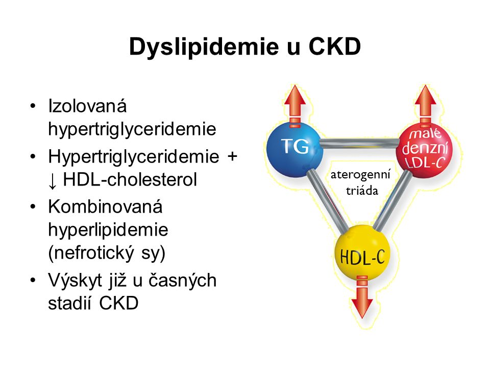 Dyslipidemie u CKD Izolovaná hypertriglyceridemie Hypertriglyceridemie + ↓ HDL-cholesterol Kombinovaná hyperlipidemie (nefrotický sy) Výskyt již u čas