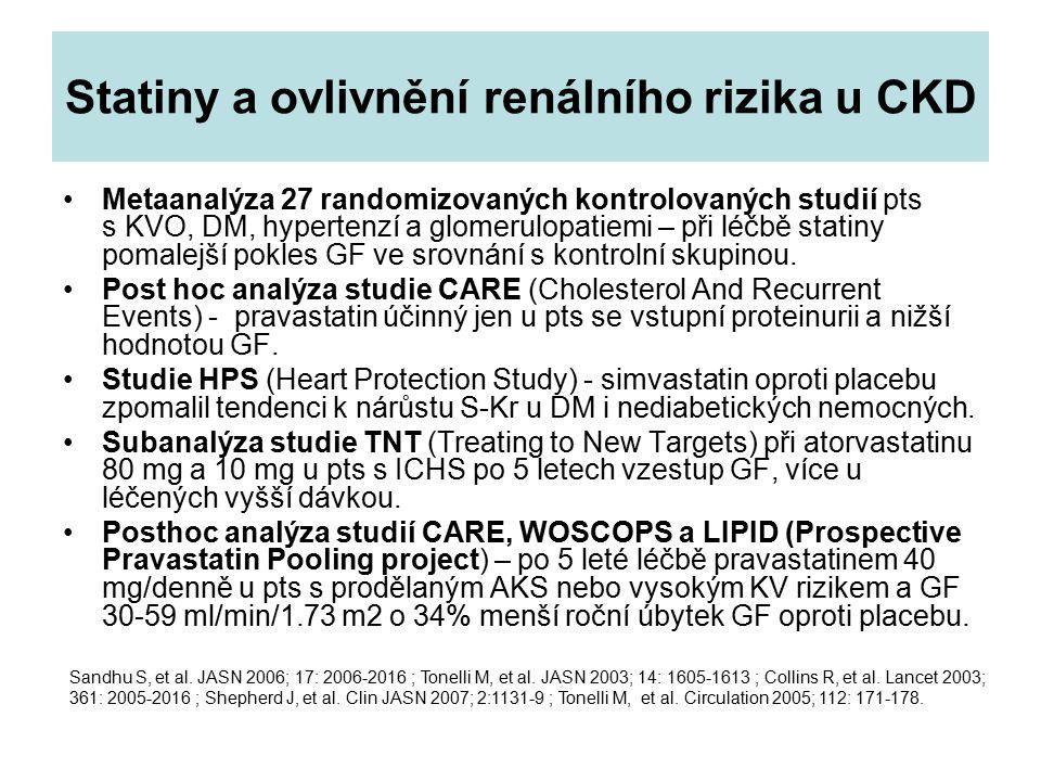 Statiny a ovlivnění renálního rizika u CKD Metaanalýza 27 randomizovaných kontrolovaných studií pts s KVO, DM, hypertenzí a glomerulopatiemi – při léč