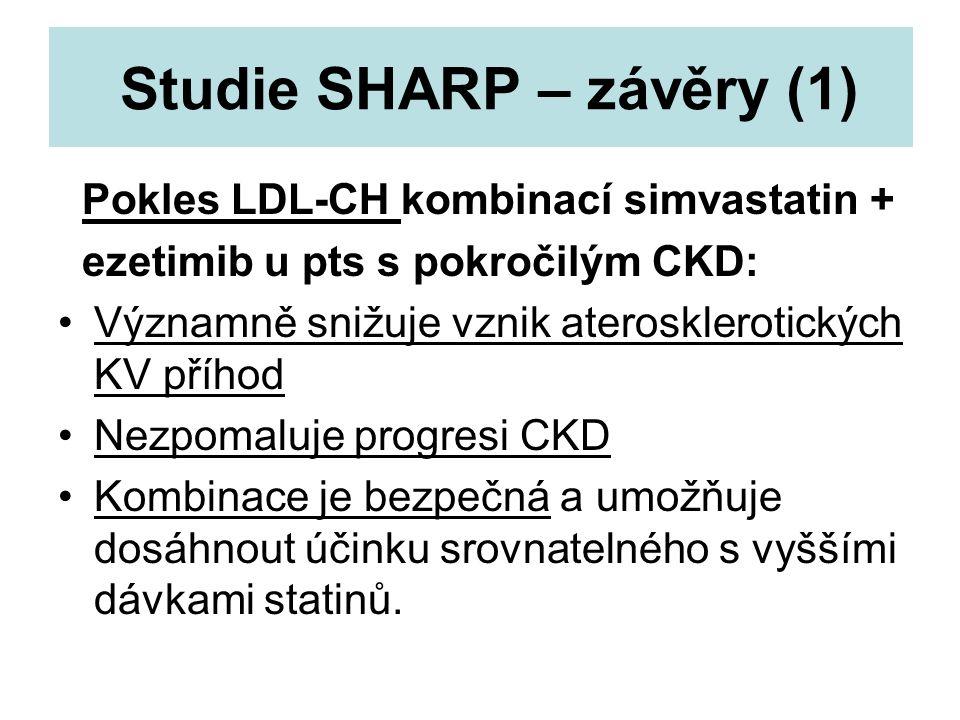 Studie SHARP – závěry (1) Pokles LDL-CH kombinací simvastatin + ezetimib u pts s pokročilým CKD: Významně snižuje vznik aterosklerotických KV příhod N