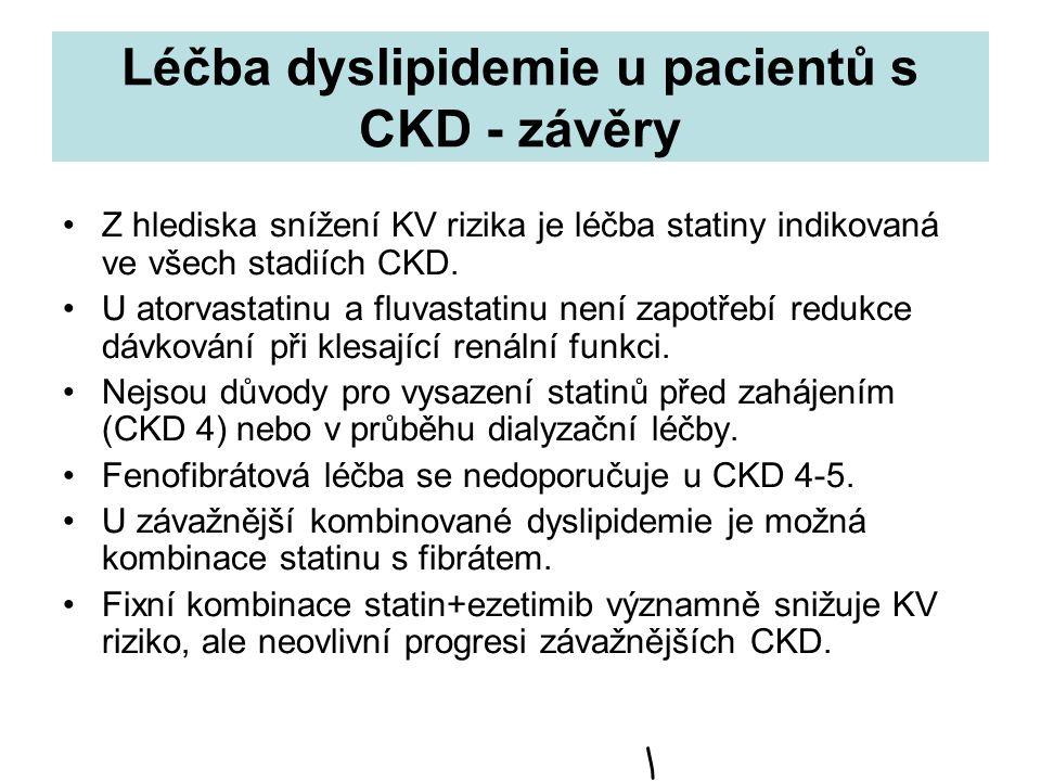 Léčba dyslipidemie u pacientů s CKD - závěry Z hlediska snížení KV rizika je léčba statiny indikovaná ve všech stadiích CKD. U atorvastatinu a fluvast