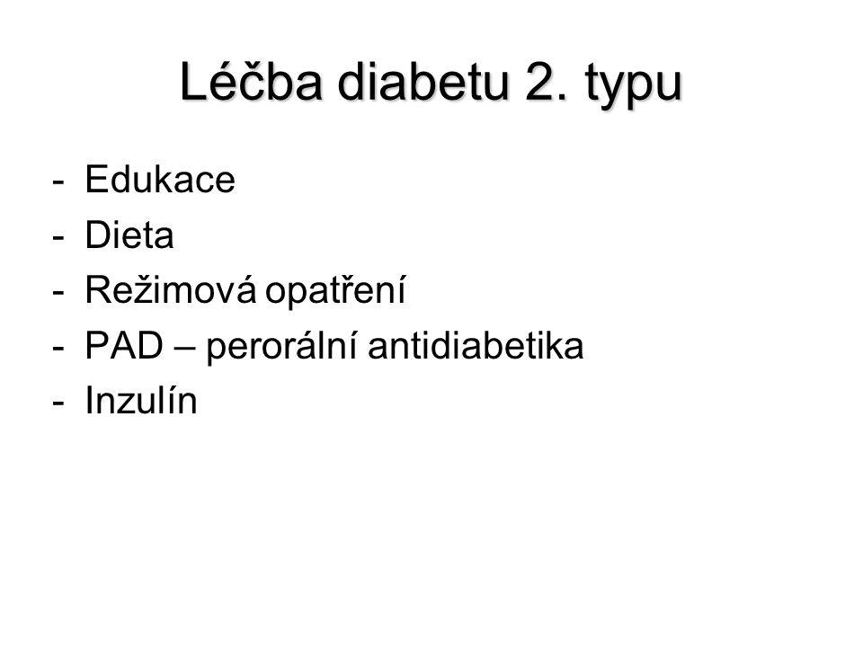 Léčba diabetu 2. typu -Edukace -Dieta -Režimová opatření -PAD – perorální antidiabetika -Inzulín