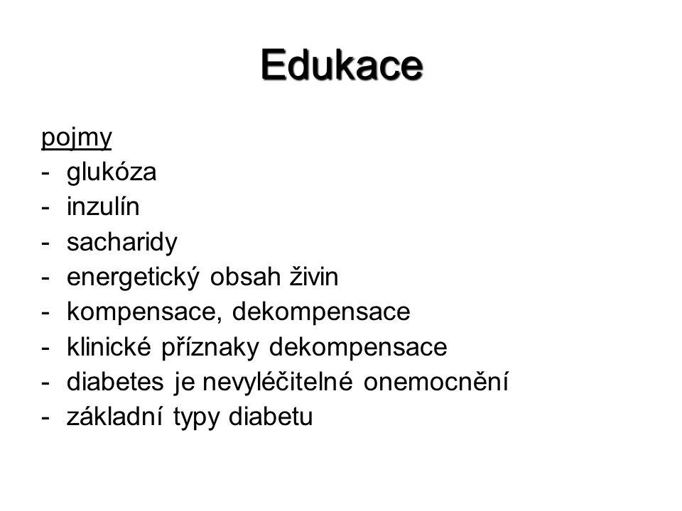 Edukace pojmy -glukóza -inzulín -sacharidy -energetický obsah živin -kompensace, dekompensace -klinické příznaky dekompensace -diabetes je nevyléčitelné onemocnění -základní typy diabetu