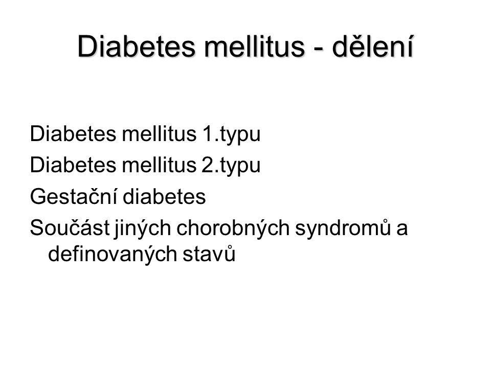 Diabetes mellitus - dělení Diabetes mellitus 1.typu Diabetes mellitus 2.typu Gestační diabetes Součást jiných chorobných syndromů a definovaných stavů