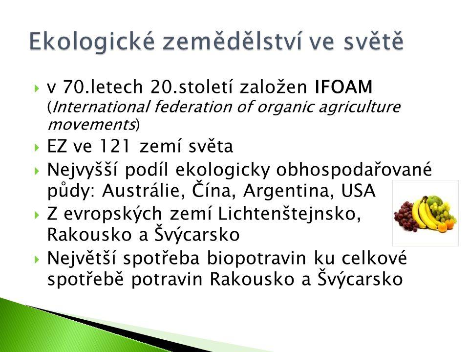  v 70.letech 20.století založen IFOAM (International federation of organic agriculture movements)  EZ ve 121 zemí světa  Nejvyšší podíl ekologicky