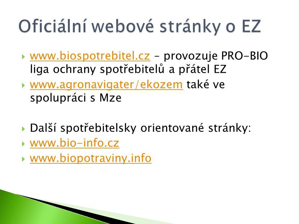  www.biospotrebitel.cz – provozuje PRO-BIO liga ochrany spotřebitelů a přátel EZ www.biospotrebitel.cz  www.agronavigater/ekozem také ve spolupráci