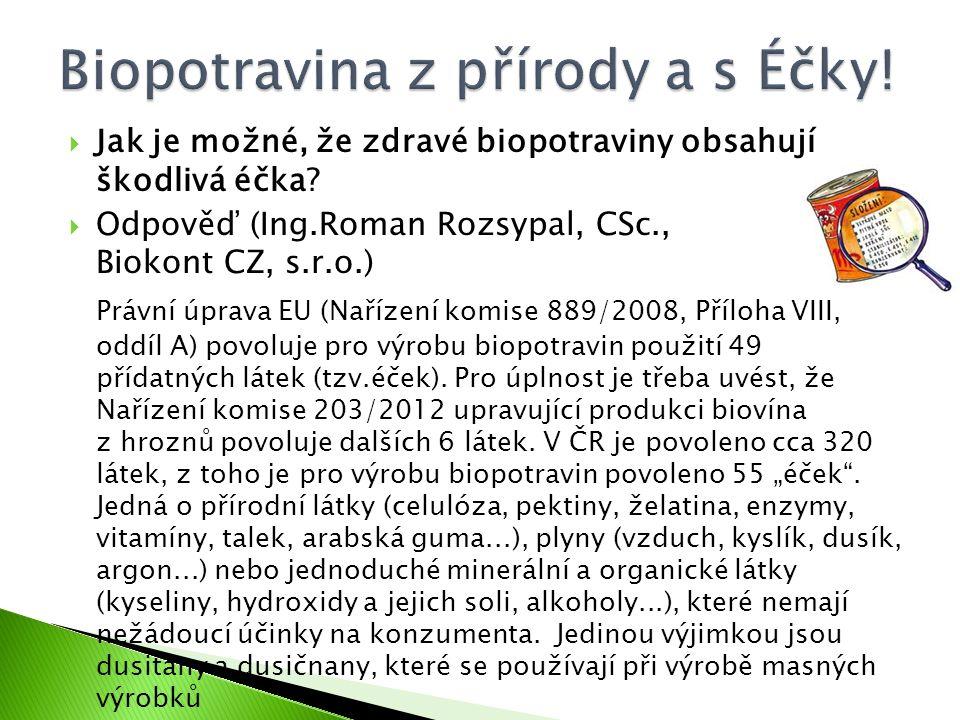  Jak je možné, že zdravé biopotraviny obsahují škodlivá éčka?  Odpověď (Ing.Roman Rozsypal, CSc., Biokont CZ, s.r.o.) Právní úprava EU (Nařízení kom