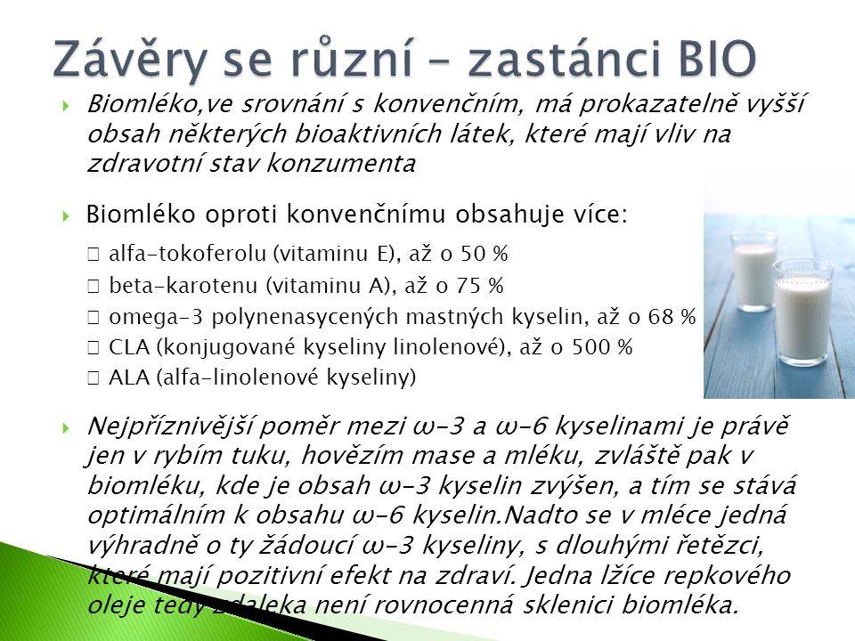  Biomléko,ve srovnání s konvenčním, má prokazatelně vyšší obsah některých bioaktivních látek, které mají vliv na zdravotní stav konzumenta  Biomléko