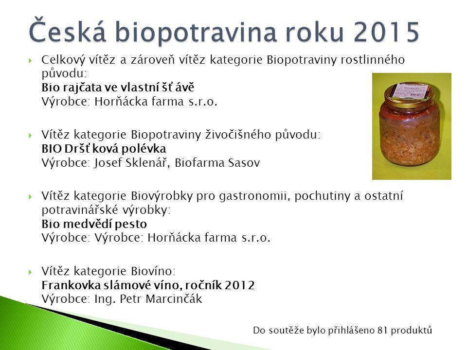  Celkový vítěz a zároveň vítěz kategorie Biopotraviny rostlinného původu: Bio rajčata ve vlastní šťávě Výrobce: Horňácka farma s.r.o.  Vítěz kategor