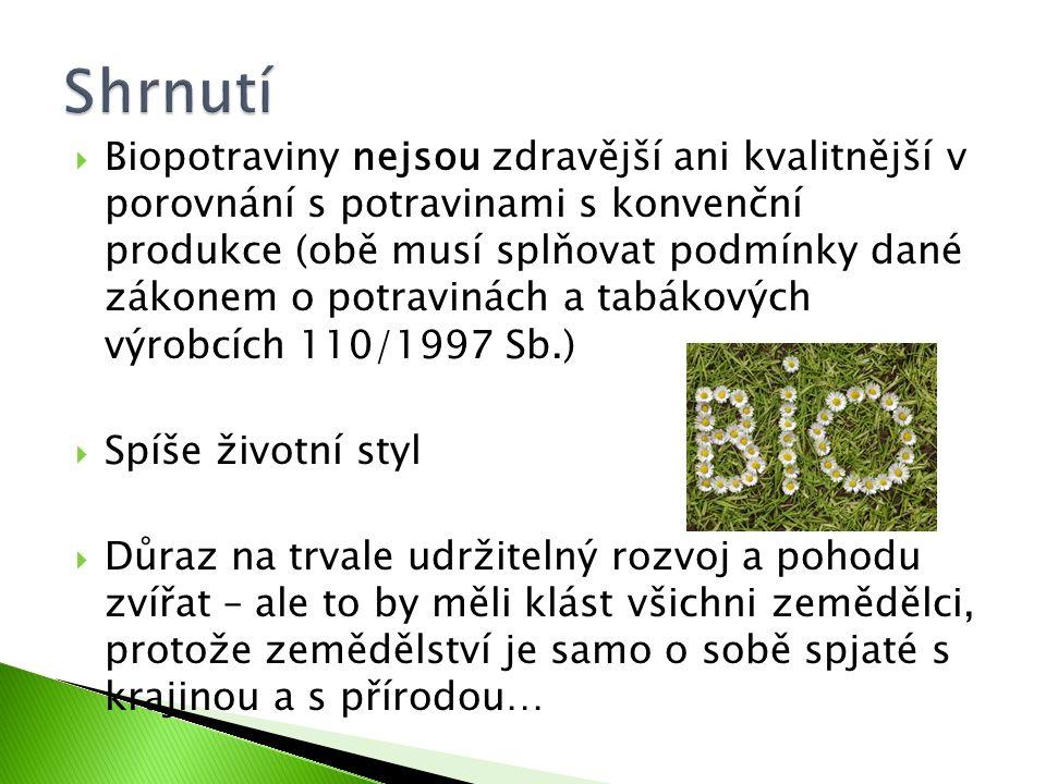  Biopotraviny nejsou zdravější ani kvalitnější v porovnání s potravinami s konvenční produkce (obě musí splňovat podmínky dané zákonem o potravinách
