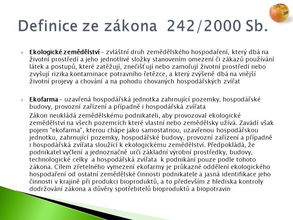  Ekologické zemědělství  Ekologické zemědělství - zvláštní druh zemědělského hospodaření, který dbá na životní prostředí a jeho jednotlivé složky st