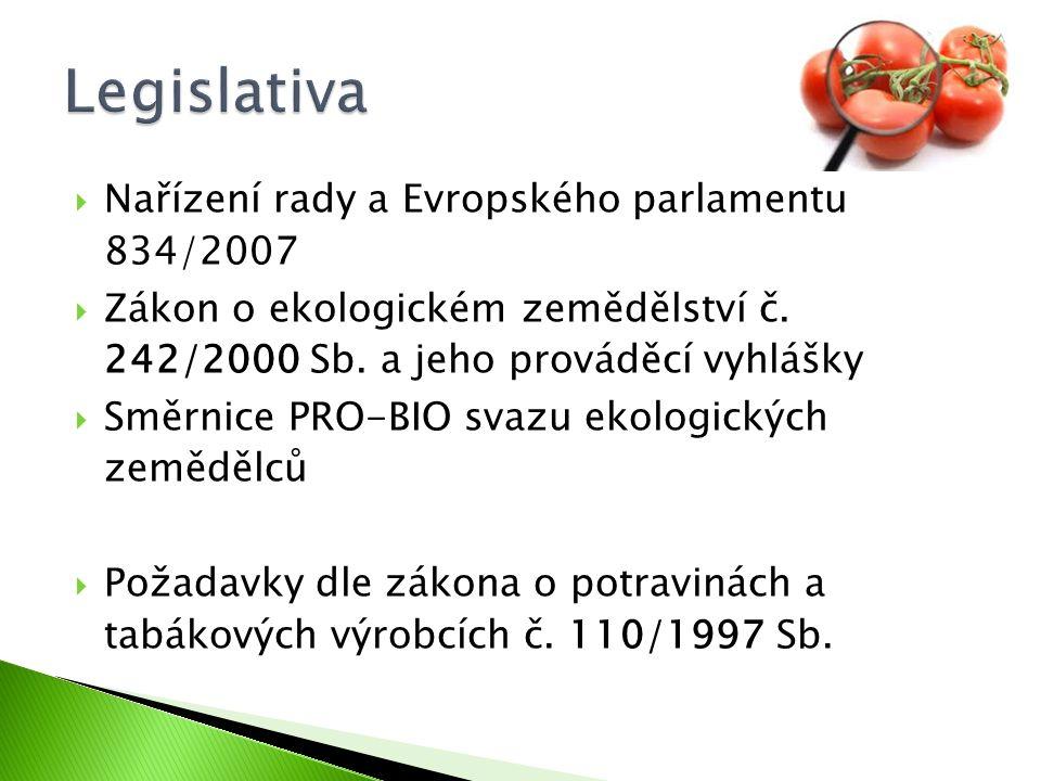  Nařízení rady a Evropského parlamentu 834/2007  Zákon o ekologickém zemědělství č. 242/2000 Sb. a jeho prováděcí vyhlášky  Směrnice PRO-BIO svazu