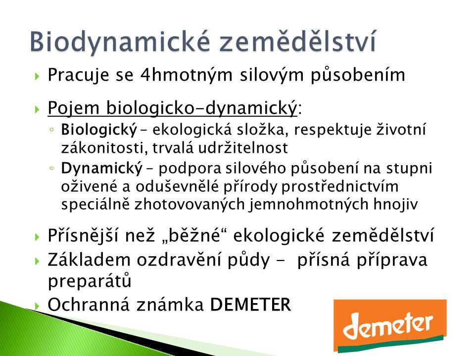  Pracuje se 4hmotným silovým působením  Pojem biologicko-dynamický: ◦ Biologický – ekologická složka, respektuje životní zákonitosti, trvalá udržite