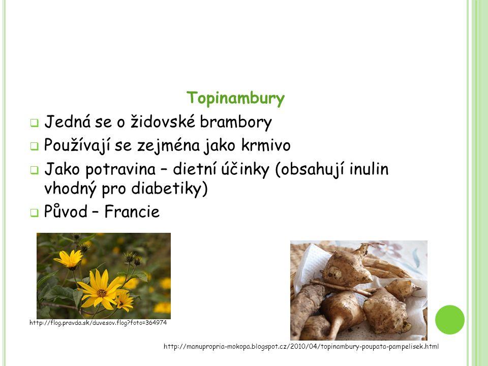 Topinambury  Jedná se o židovské brambory  Používají se zejména jako krmivo  Jako potravina – dietní účinky (obsahují inulin vhodný pro diabetiky)  Původ – Francie http://flog.pravda.sk/duvesov.flog?foto=364974 http://manupropria-mokopa.blogspot.cz/2010/04/topinambury-poupata-pampelisek.html