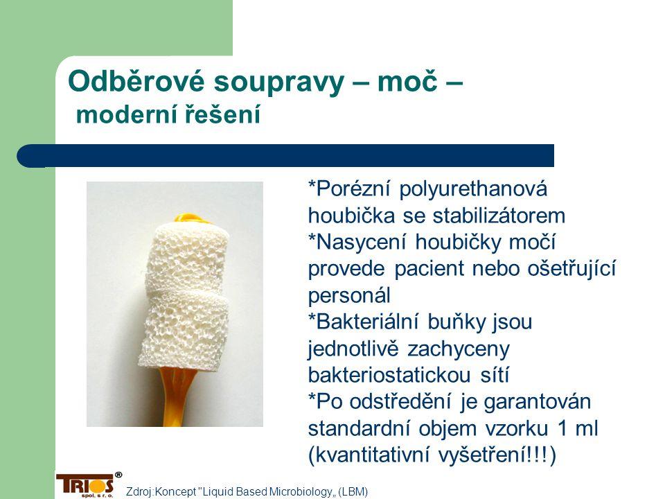 Odběrové soupravy – moč – moderní řešení *Porézní polyurethanová houbička se stabilizátorem *Nasycení houbičky močí provede pacient nebo ošetřující pe
