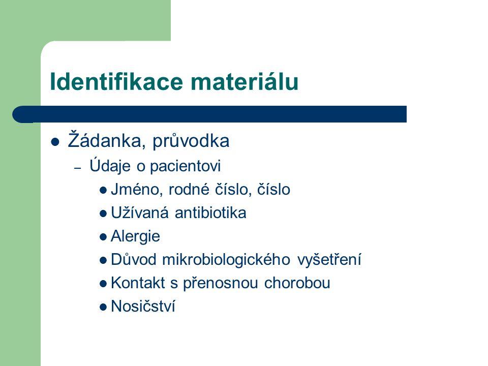 Identifikace materiálu Žádanka, průvodka – Údaje o pacientovi Jméno, rodné číslo, číslo Užívaná antibiotika Alergie Důvod mikrobiologického vyšetření