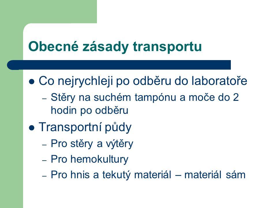 Obecné zásady transportu Co nejrychleji po odběru do laboratoře – Stěry na suchém tampónu a moče do 2 hodin po odběru Transportní půdy – Pro stěry a v