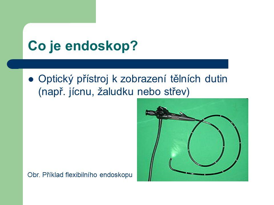 Funkce endoskopu Endoskop je založený na zákonech odrazu a lomu světla Využívá optická vlákna – skleněné nebo plastové vlákno, které prostřednictvím světla přenáší signály Obr.