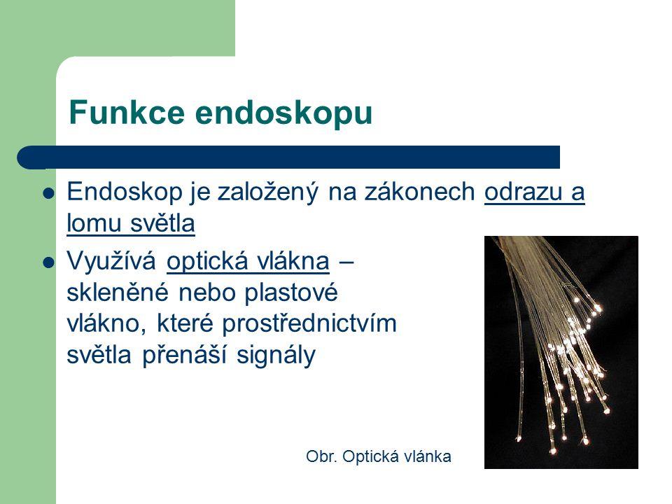 Funkce endoskopu Endoskop je založený na zákonech odrazu a lomu světla Využívá optická vlákna – skleněné nebo plastové vlákno, které prostřednictvím s