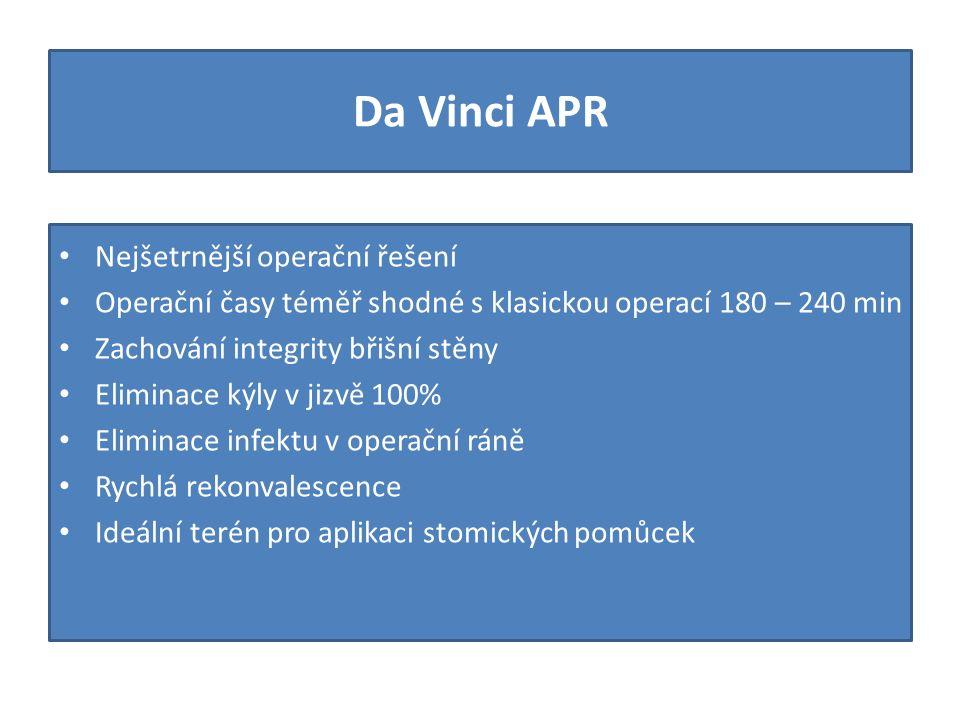 Da Vinci APR Nejšetrnější operační řešení Operační časy téměř shodné s klasickou operací 180 – 240 min Zachování integrity břišní stěny Eliminace kýly v jizvě 100% Eliminace infektu v operační ráně Rychlá rekonvalescence Ideální terén pro aplikaci stomických pomůcek