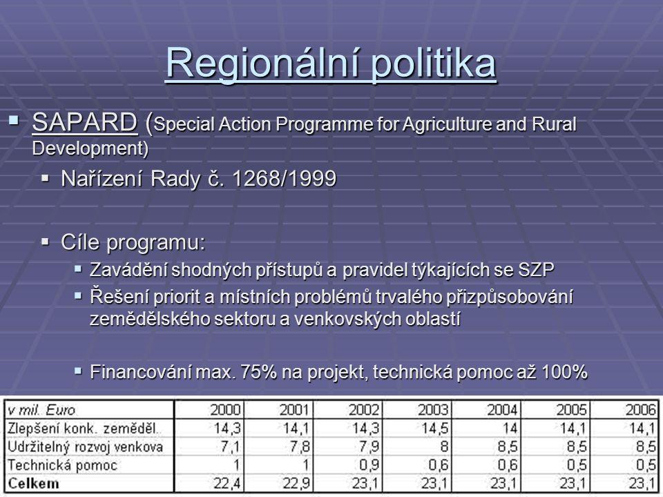 Regionální politika  SAPARD ( Special Action Programme for Agriculture and Rural Development)  Nařízení Rady č. 1268/1999  Cíle programu:  Zaváděn