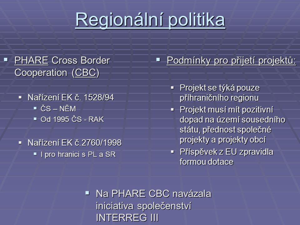 Regionální politika  PHARE Cross Border Cooperation (CBC)  Nařízení EK č. 1528/94  ČS – NĚM  Od 1995 ČS - RAK  Nařízení EK č.2760/1998  I pro hr