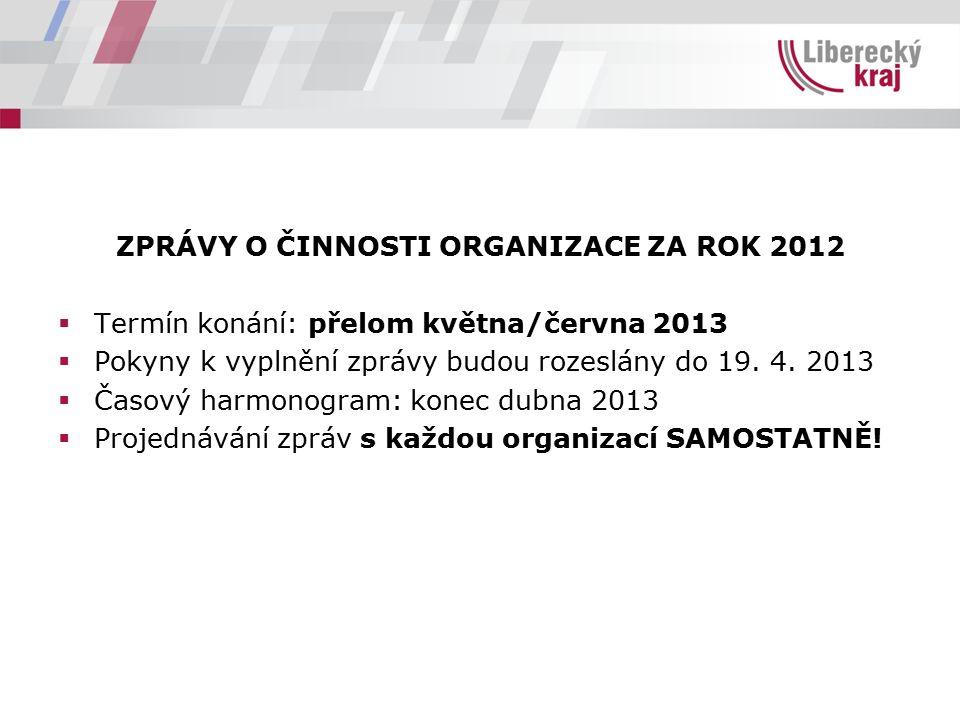 ZPRÁVY O ČINNOSTI ORGANIZACE ZA ROK 2012  Termín konání: přelom května/června 2013  Pokyny k vyplnění zprávy budou rozeslány do 19. 4. 2013  Časový