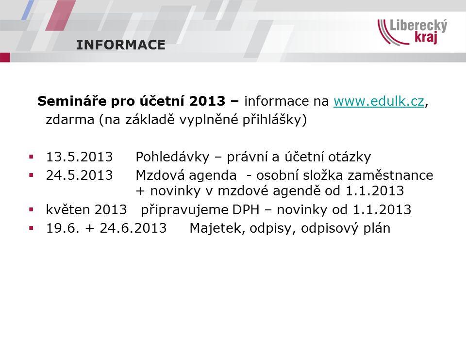 INFORMACE Semináře pro účetní 2013 – informace na www.edulk.cz,www.edulk.cz zdarma (na základě vyplněné přihlášky)  13.5.2013 Pohledávky – právní a účetní otázky  24.5.2013 Mzdová agenda - osobní složka zaměstnance + novinky v mzdové agendě od 1.1.2013  květen 2013 připravujeme DPH – novinky od 1.1.2013  19.6.