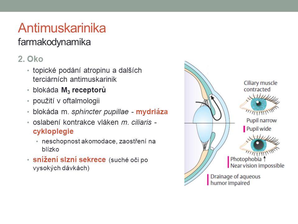 2. Oko topické podání atropinu a dalších terciárních antimuskarinik blokáda M 3 receptorů použití v oftalmologii blokáda m. sphincter pupillae - mydri