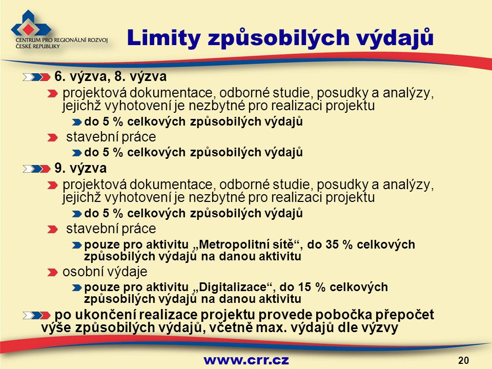 www.crr.cz 20 Limity způsobilých výdajů 6. výzva, 8.