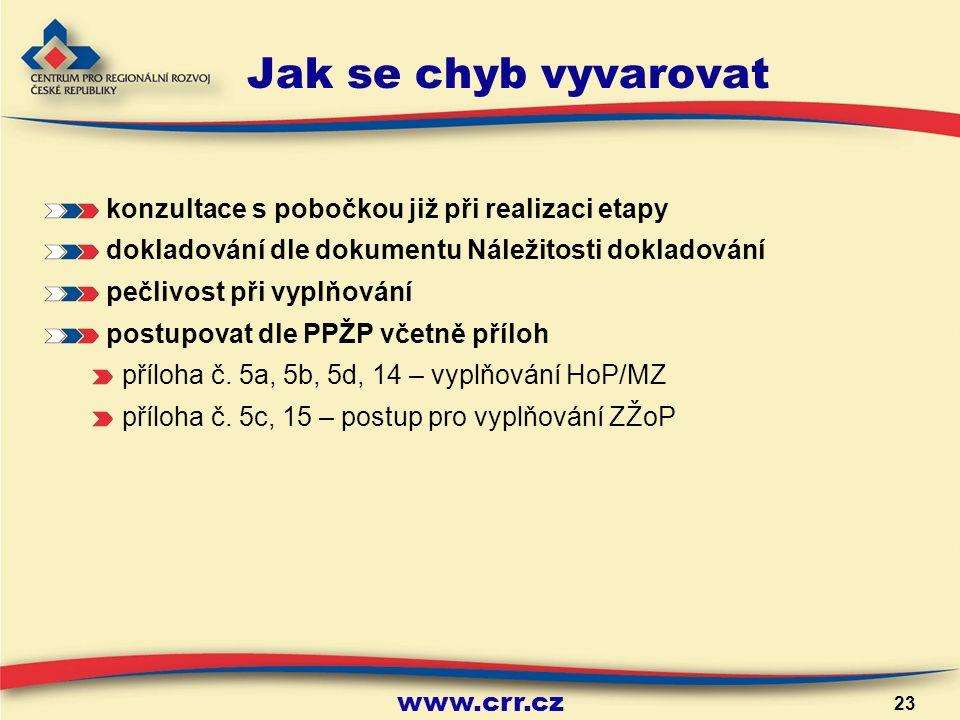 www.crr.cz 23 Jak se chyb vyvarovat konzultace s pobočkou již při realizaci etapy dokladování dle dokumentu Náležitosti dokladování pečlivost při vyplňování postupovat dle PPŽP včetně příloh příloha č.
