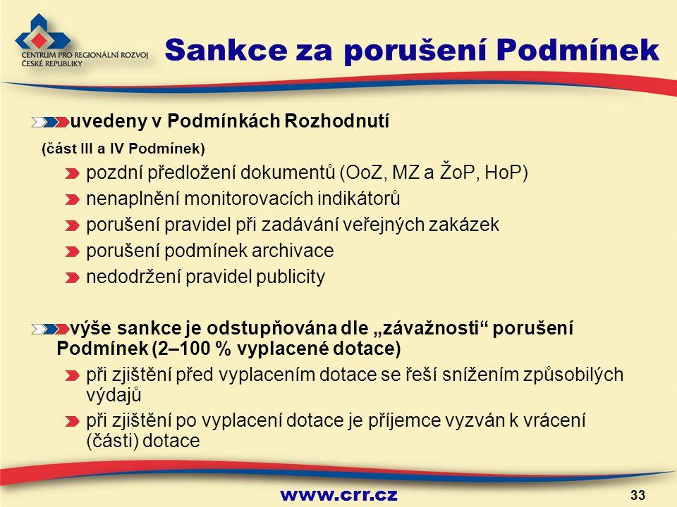"""www.crr.cz 33 Sankce za porušení Podmínek uvedeny v Podmínkách Rozhodnutí (část III a IV Podmínek) pozdní předložení dokumentů (OoZ, MZ a ŽoP, HoP) nenaplnění monitorovacích indikátorů porušení pravidel při zadávání veřejných zakázek porušení podmínek archivace nedodržení pravidel publicity výše sankce je odstupňována dle """"závažnosti porušení Podmínek (2–100 % vyplacené dotace) při zjištění před vyplacením dotace se řeší snížením způsobilých výdajů při zjištění po vyplacení dotace je příjemce vyzván k vrácení (části) dotace"""