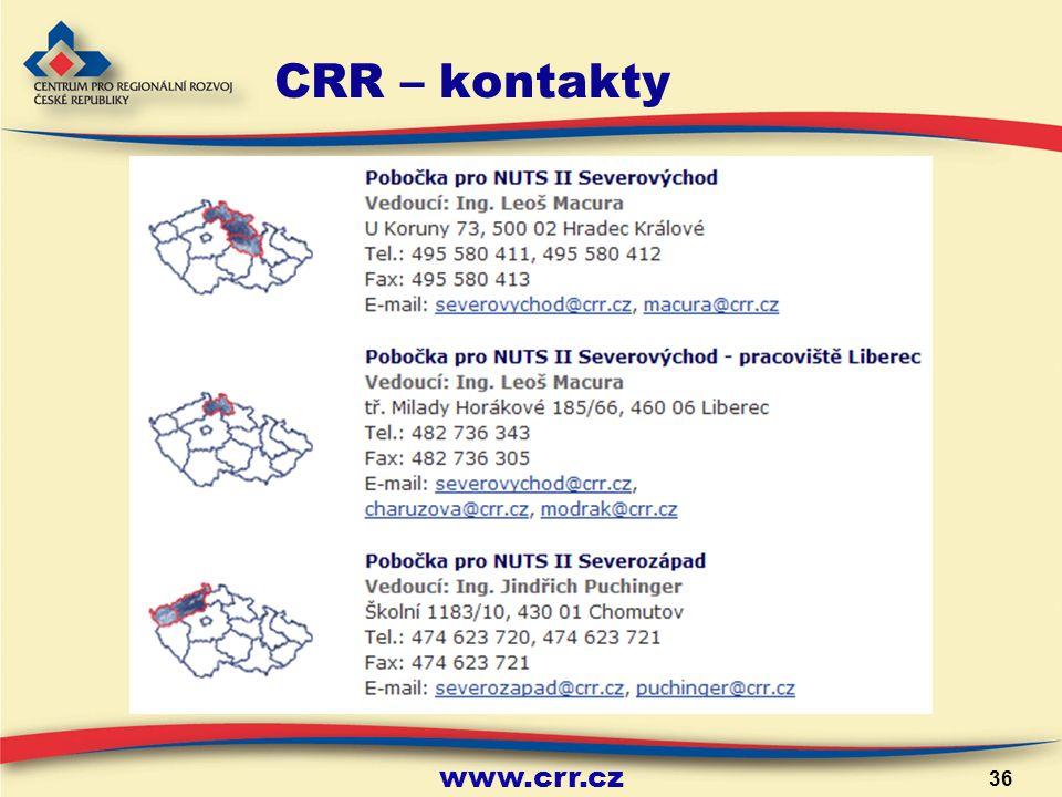 www.crr.cz 36 CRR – kontakty