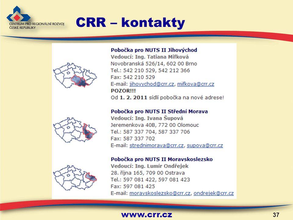 www.crr.cz 37 CRR – kontakty