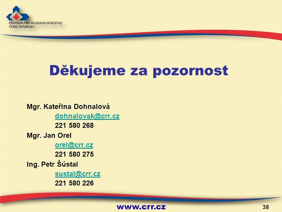 www.crr.cz 38 Děkujeme za pozornost Mgr. Kateřina Dohnalová dohnalovak@crr.cz 221 580 268 Mgr.