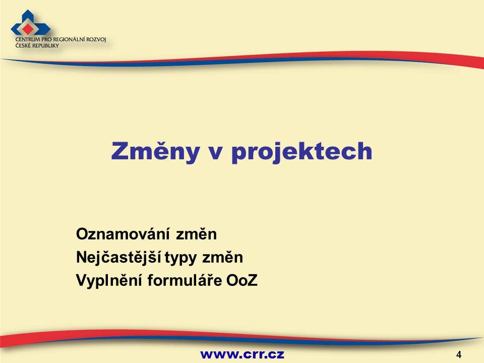 www.crr.cz 4 Změny v projektech Oznamování změn Nejčastější typy změn Vyplnění formuláře OoZ