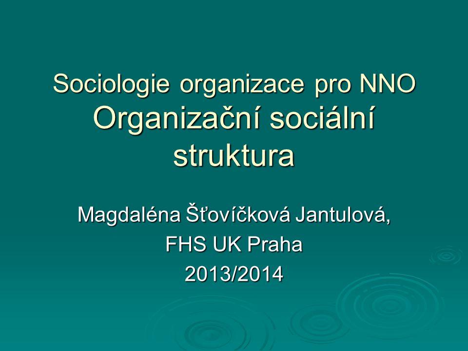 Sociologie organizace pro NNO Organizační sociální struktura Magdaléna Šťovíčková Jantulová, FHS UK Praha 2013/2014