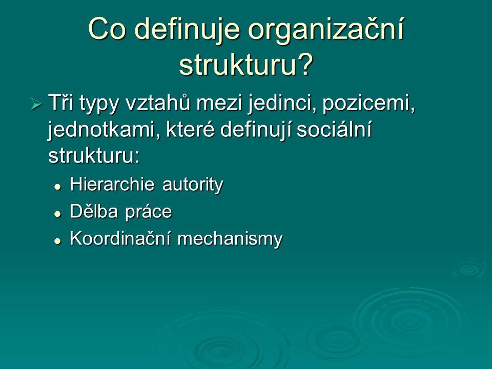 Co definuje organizační strukturu?  Tři typy vztahů mezi jedinci, pozicemi, jednotkami, které definují sociální strukturu: Hierarchie autority Hierar
