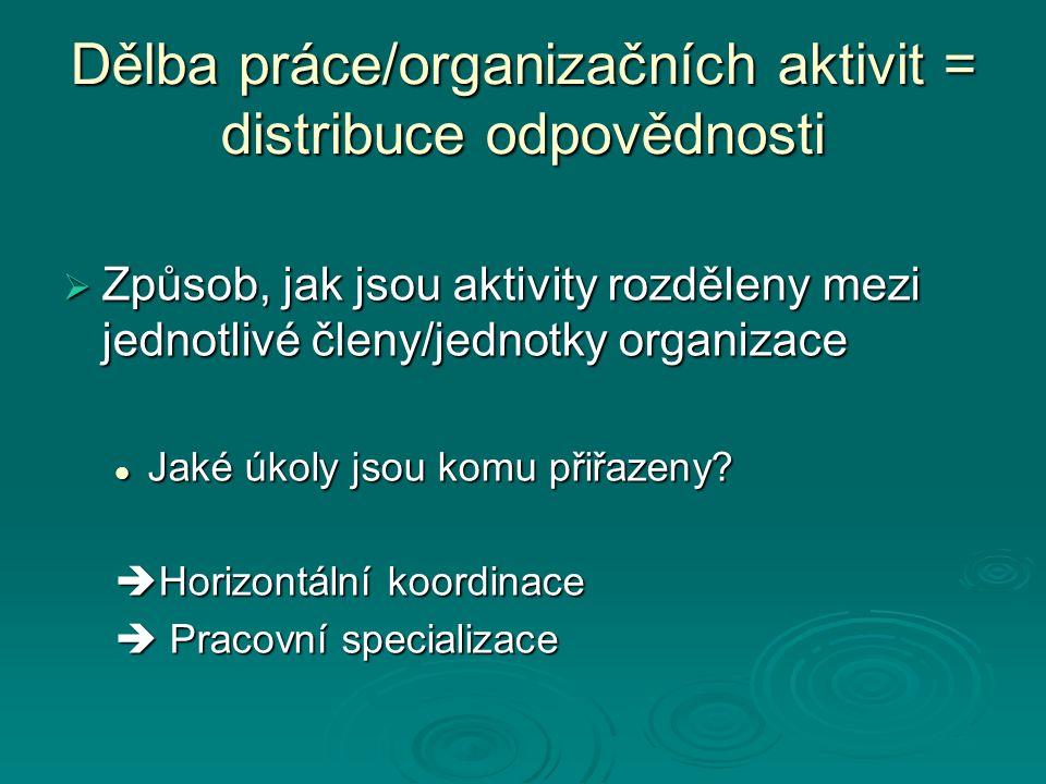 Dělba práce/organizačních aktivit = distribuce odpovědnosti  Způsob, jak jsou aktivity rozděleny mezi jednotlivé členy/jednotky organizace Jaké úkoly jsou komu přiřazeny.
