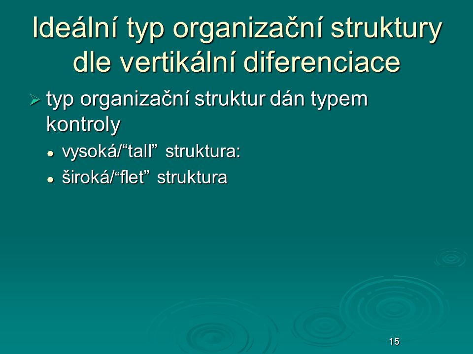 20 Ideální typ organizační struktury dle vertikální diferenciace  typ organizační struktur dán typem kontroly vysoká/ tall struktura: vysoká/ tall struktura: široká/ flet struktura široká/ flet struktura 15