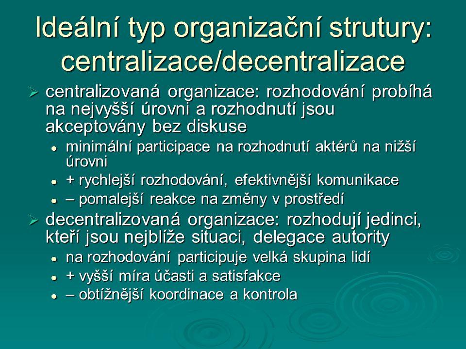Ideální typ organizační strutury: centralizace/decentralizace  centralizovaná organizace: rozhodování probíhá na nejvyšší úrovni a rozhodnutí jsou akceptovány bez diskuse minimální participace na rozhodnutí aktérů na nižší úrovni minimální participace na rozhodnutí aktérů na nižší úrovni + rychlejší rozhodování, efektivnější komunikace + rychlejší rozhodování, efektivnější komunikace – pomalejší reakce na změny v prostředí – pomalejší reakce na změny v prostředí  decentralizovaná organizace: rozhodují jedinci, kteří jsou nejblíže situaci, delegace autority na rozhodování participuje velká skupina lidí na rozhodování participuje velká skupina lidí + vyšší míra účasti a satisfakce + vyšší míra účasti a satisfakce – obtížnější koordinace a kontrola – obtížnější koordinace a kontrola