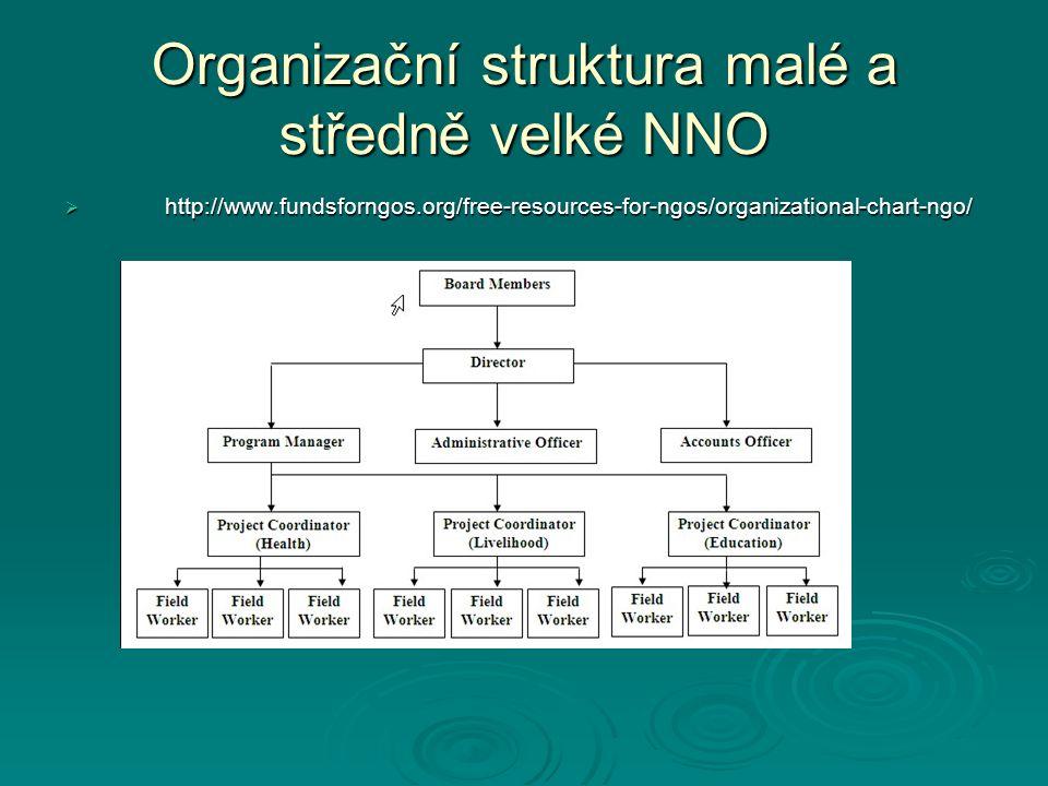 Organizační struktura malé a středně velké NNO  http://www.fundsforngos.org/free-resources-for-ngos/organizational-chart-ngo/
