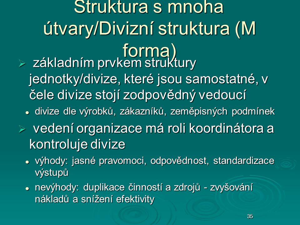 35 Struktura s mnoha útvary/Divizní struktura (M forma)  základním prvkem struktury jednotky/divize, které jsou samostatné, v čele divize stojí zodpo