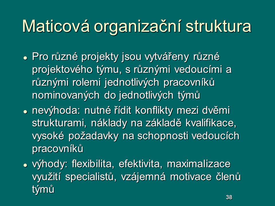 Maticová organizační struktura Pro různé projekty jsou vytvářeny různé projektového týmu, s různými vedoucími a různými rolemi jednotlivých pracovníků