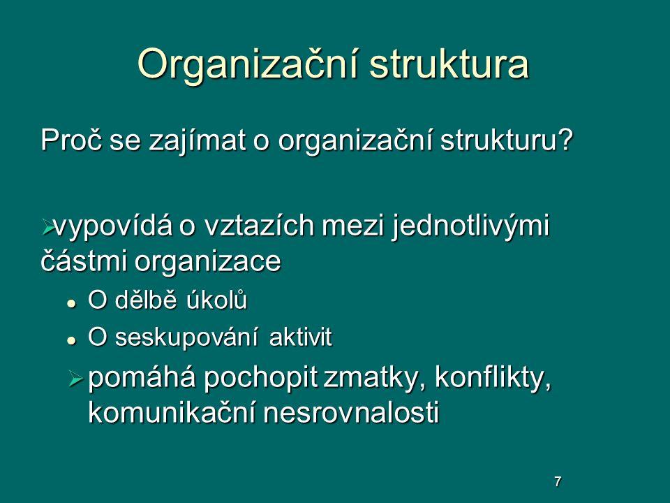 Organizační struktura Proč se zajímat o organizační strukturu?  vypovídá o vztazích mezi jednotlivými částmi organizace O dělbě úkolů O dělbě úkolů O