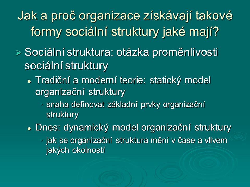Dynamický model organizační struktury  Vývoj organizace v průběhu delšího historického období  Popis určitých fází, období vývoje organizace Př.