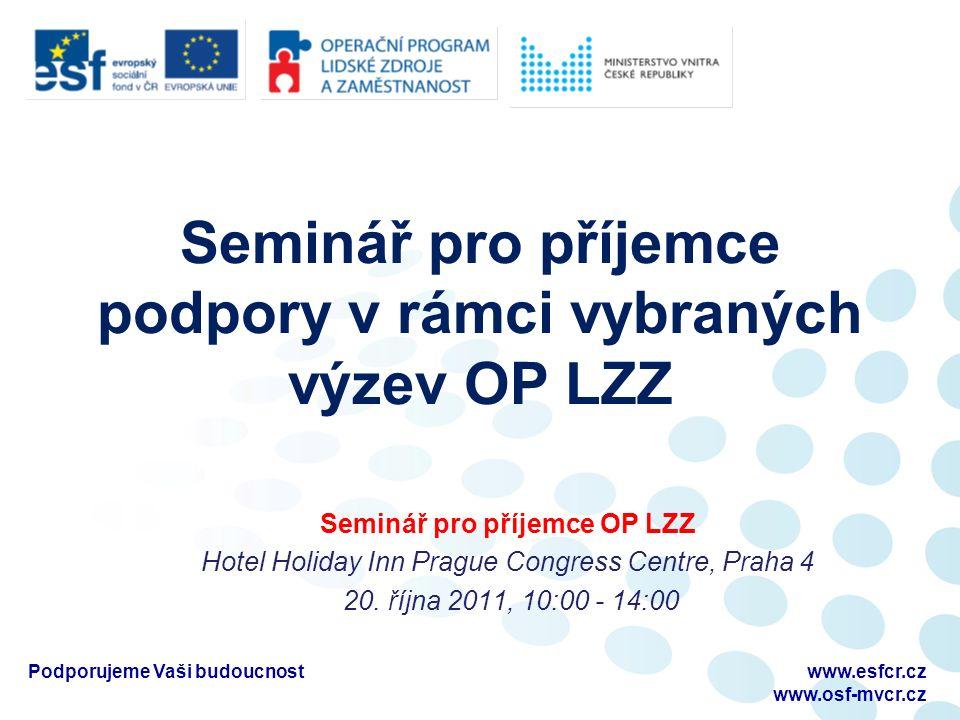 Seminář pro příjemce podpory v rámci vybraných výzev OP LZZ Seminář pro příjemce OP LZZ Hotel Holiday Inn Prague Congress Centre, Praha 4 20.