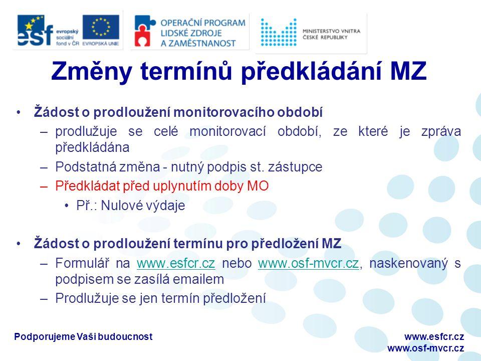 Změny termínů předkládání MZ Žádost o prodloužení monitorovacího období –prodlužuje se celé monitorovací období, ze které je zpráva předkládána –Podstatná změna - nutný podpis st.