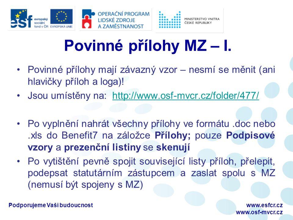 Povinné přílohy MZ – I.